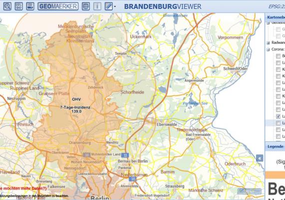 Karte Bewegungsradius Oberhavel aus BrandenburgViewer